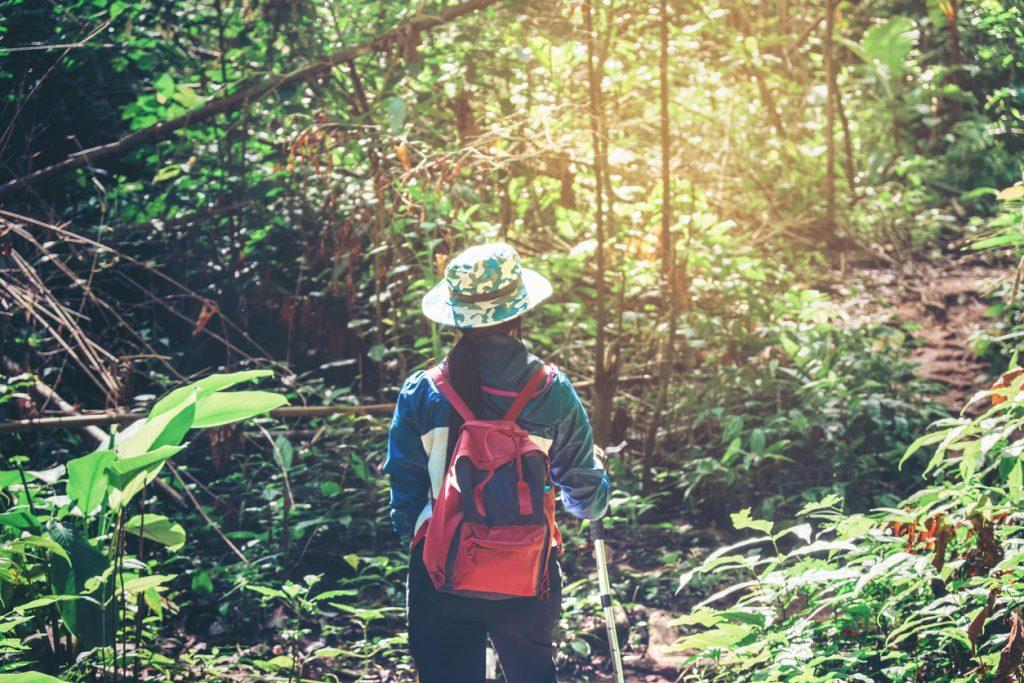 Joven mujer disfrutando de un viaje ecológico
